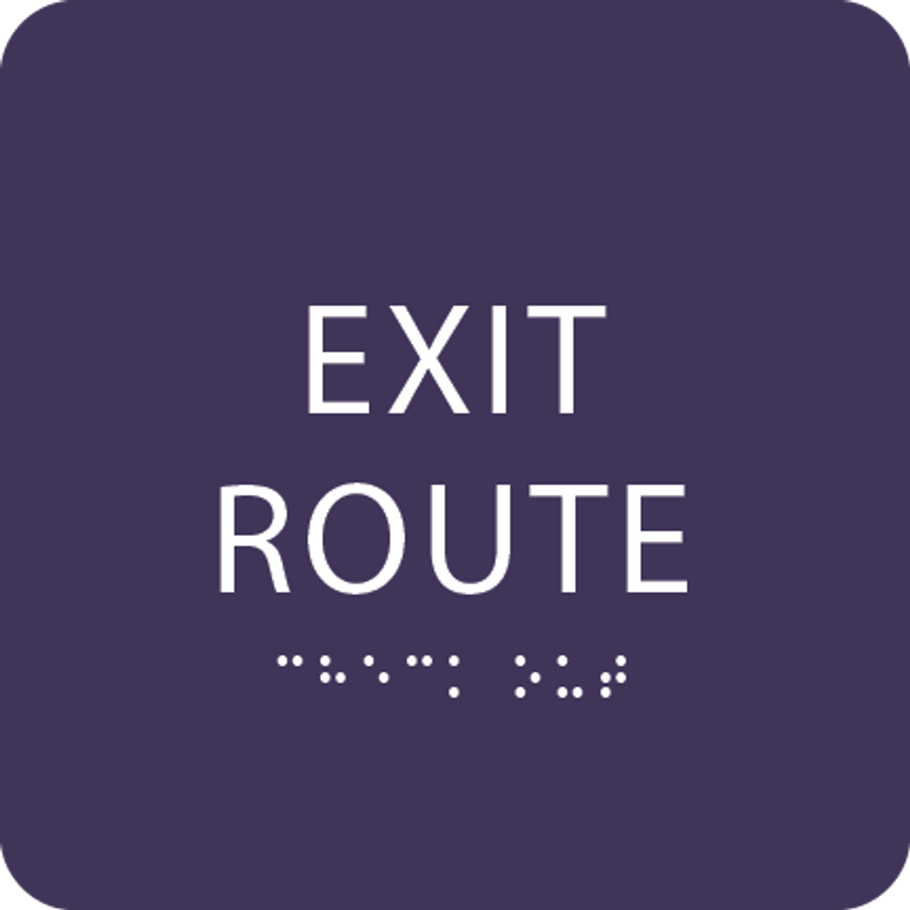 Purple Tactile Exit Route Sign