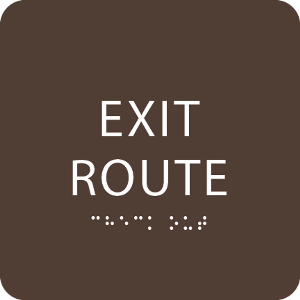Brown Tactile Exit Route Sign
