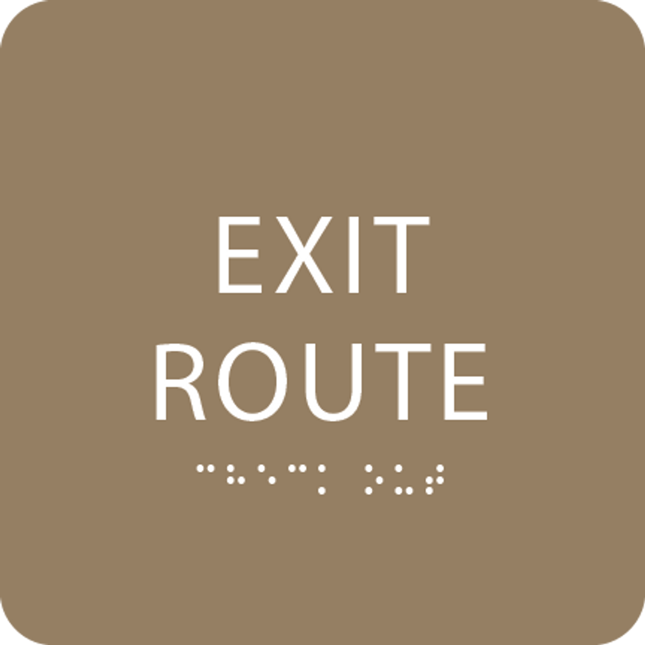 Light Brown Tactile Exit Route Sign