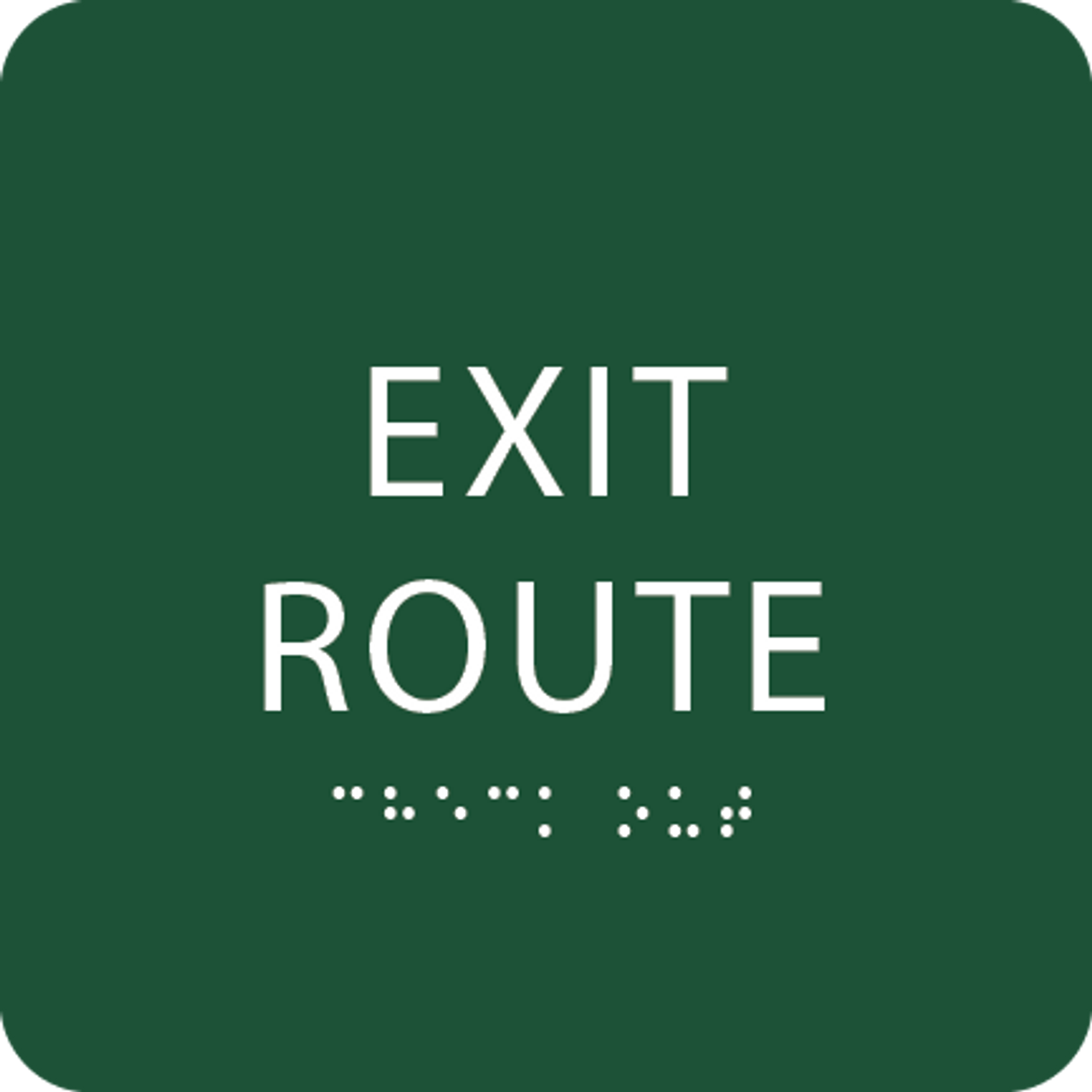 Green Tactile Exit Route Sign
