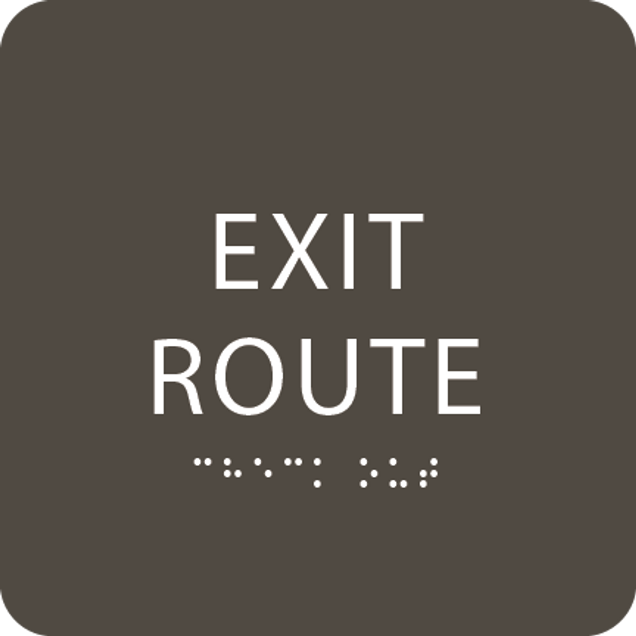 Olive Tactile Exit Route Sign