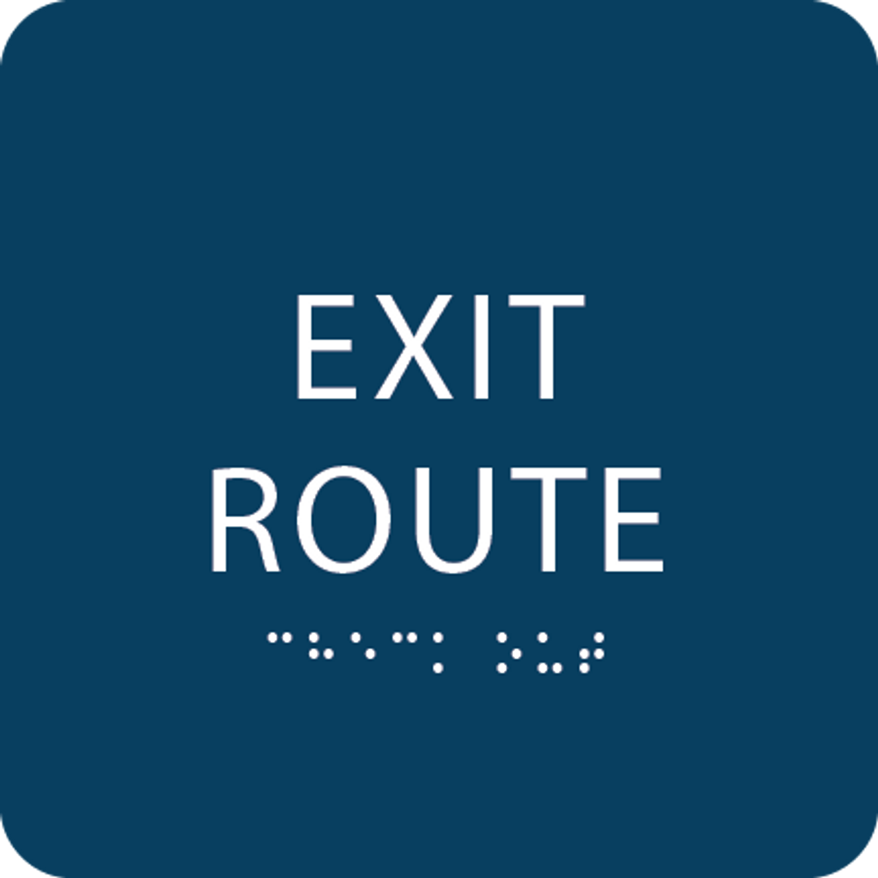 Dark Blue Tactile Exit Route Sign