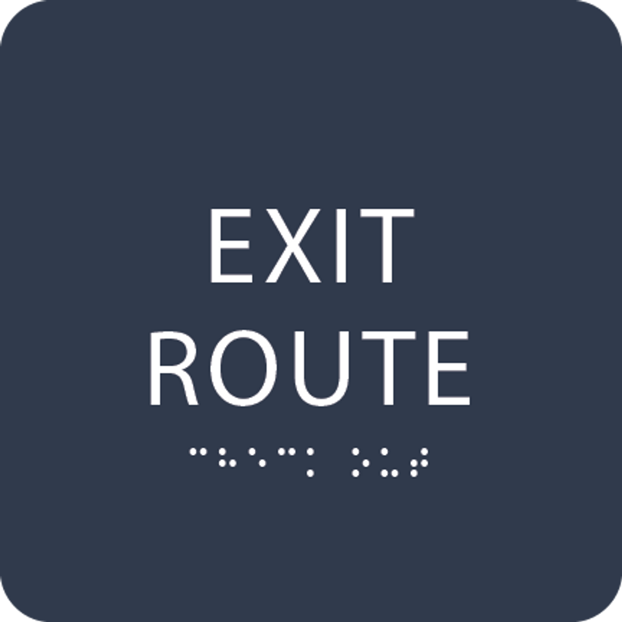 Navy Tactile Exit Route Sign