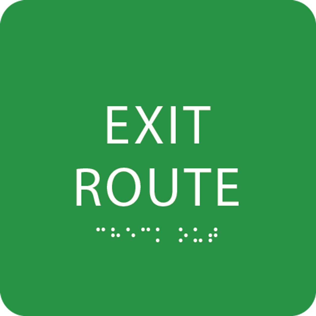 Light Green Tactile Exit Route Sign