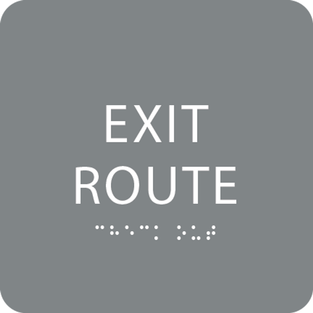 Grey Tactile Exit Route Sign