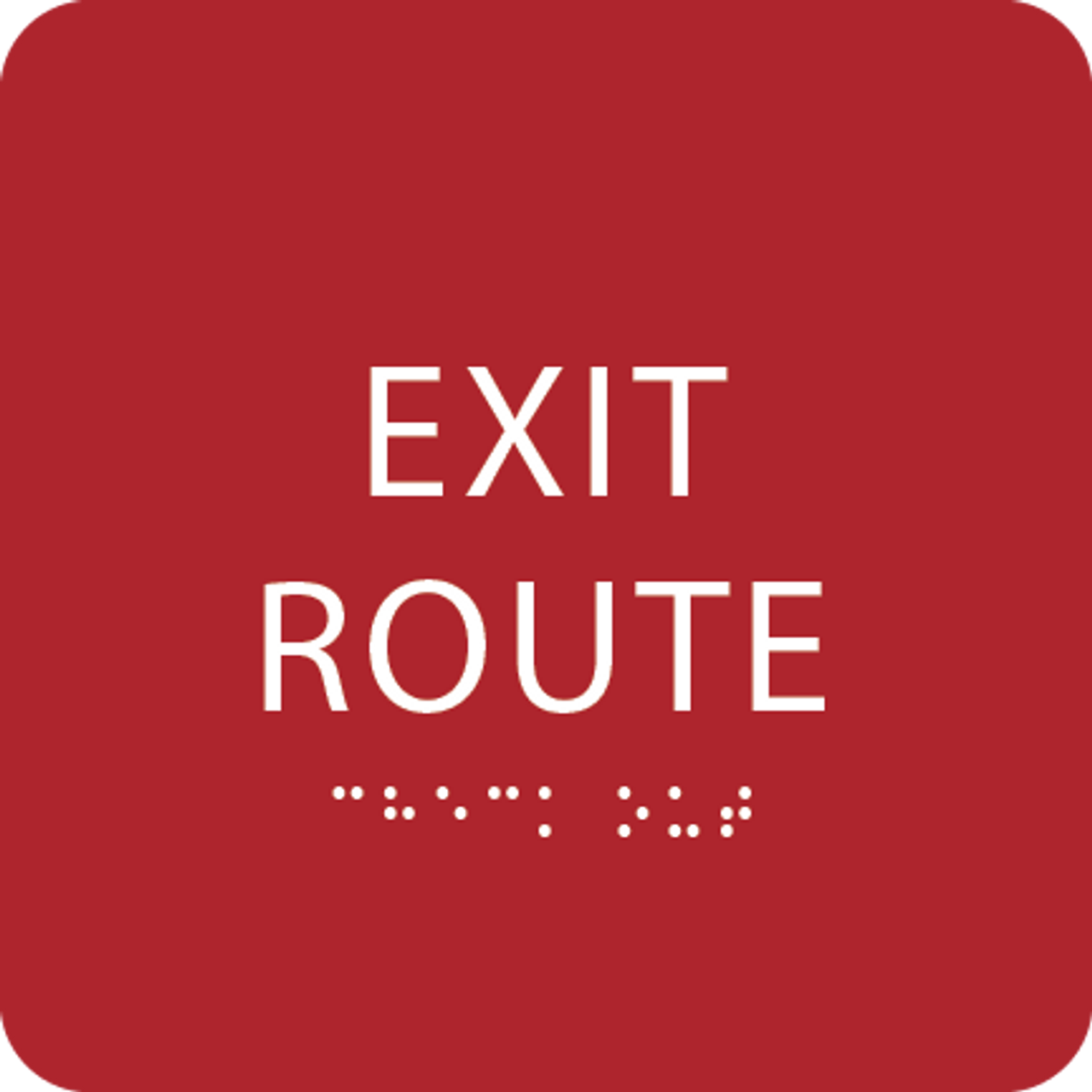 Red Tactile Exit Route Sign