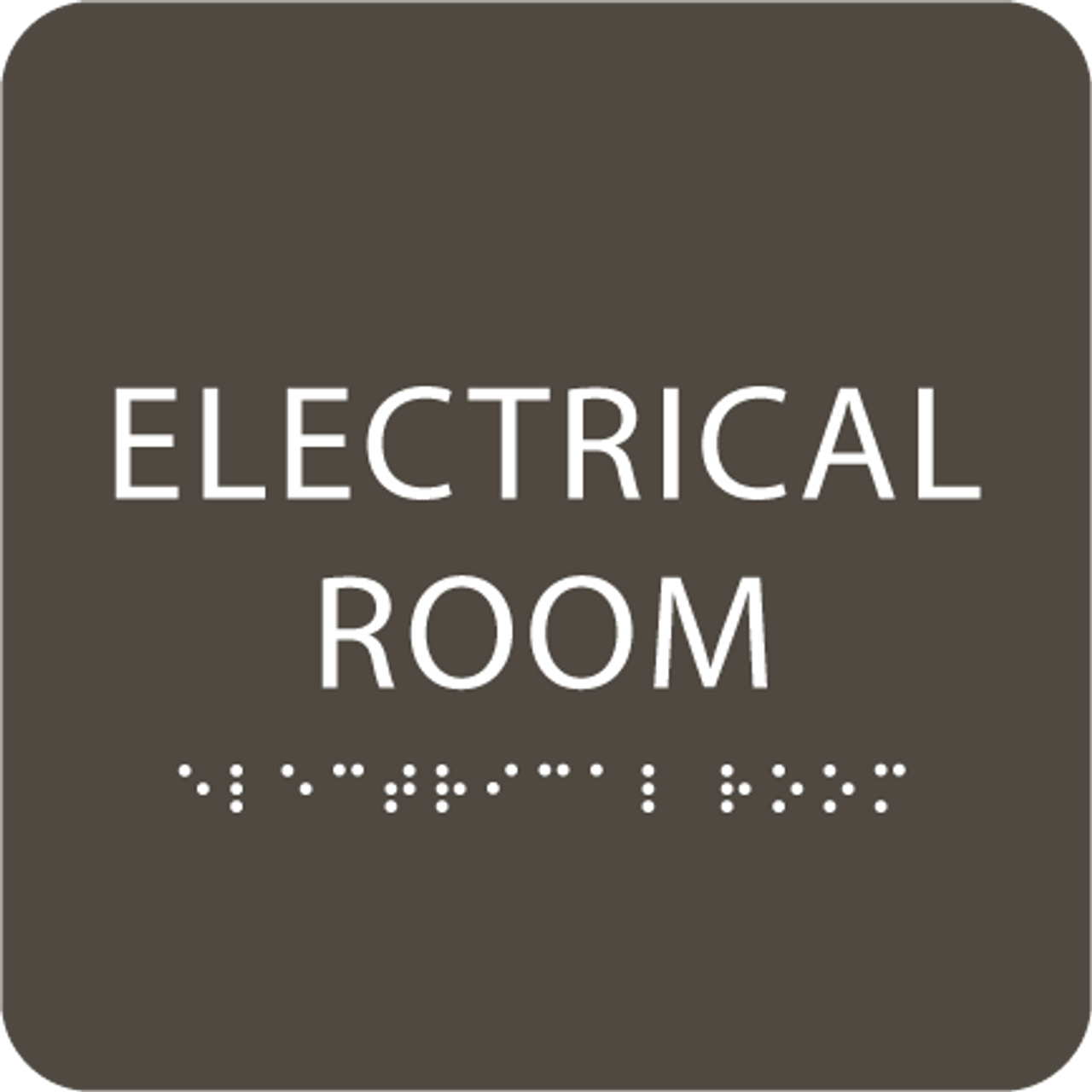 Olive Tactile Electrical Room Sign