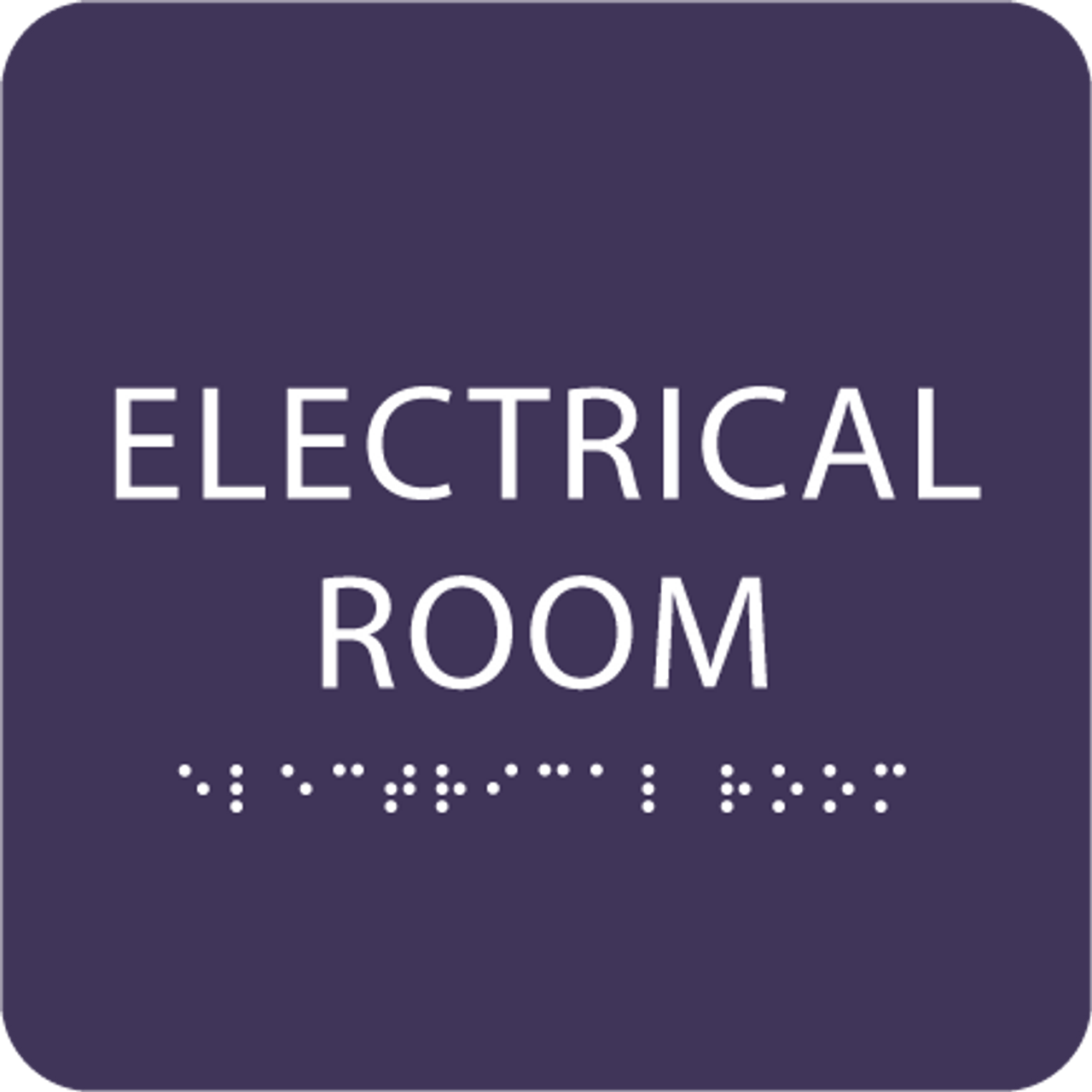 Purple Tactile Electrical Room Sign
