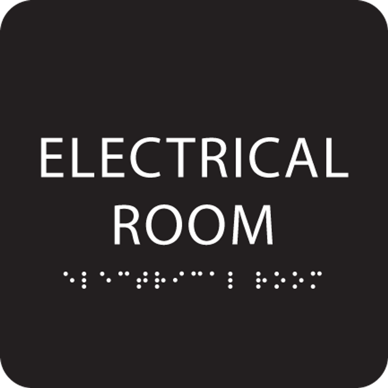 Black Tactile Electrical Room Sign