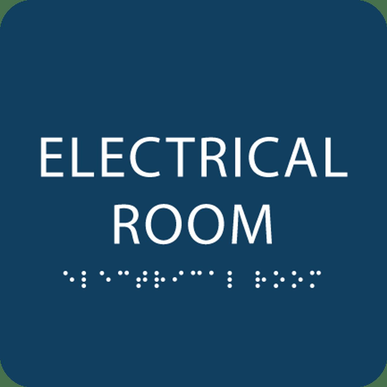 Dark Blue Tactile Electrical Room Sign