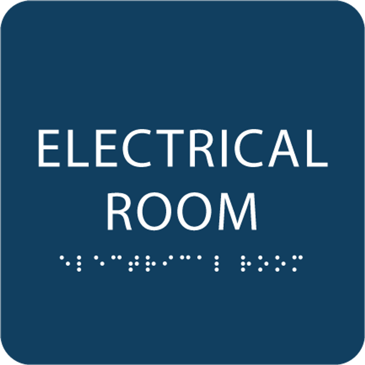Dark Blue Tactile Electrical Room Sign