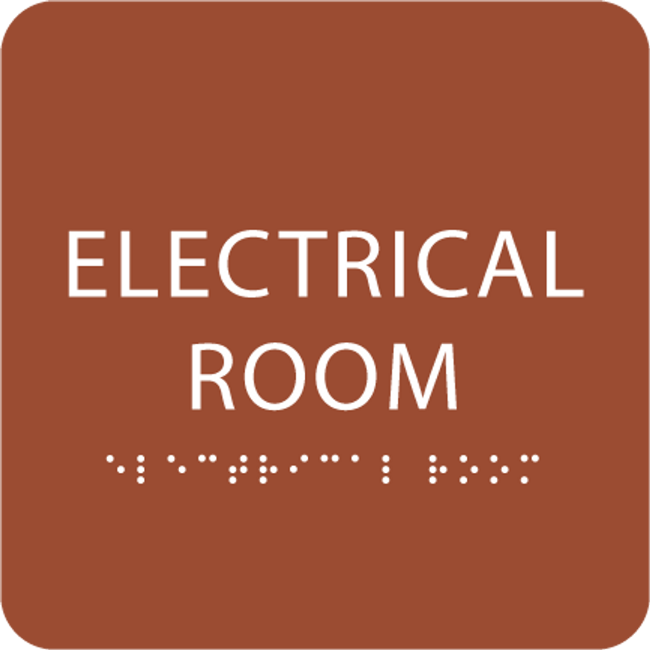 Orange Tactile Electrical Room Sign