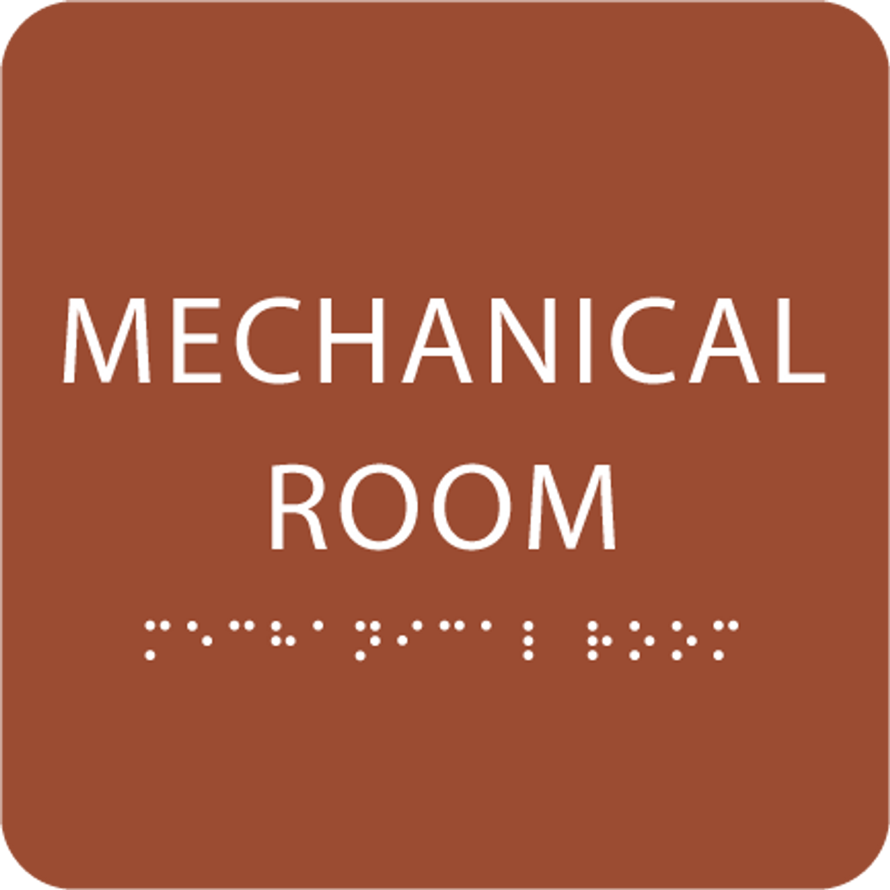 Orange Tactile Mechanical Room Sign