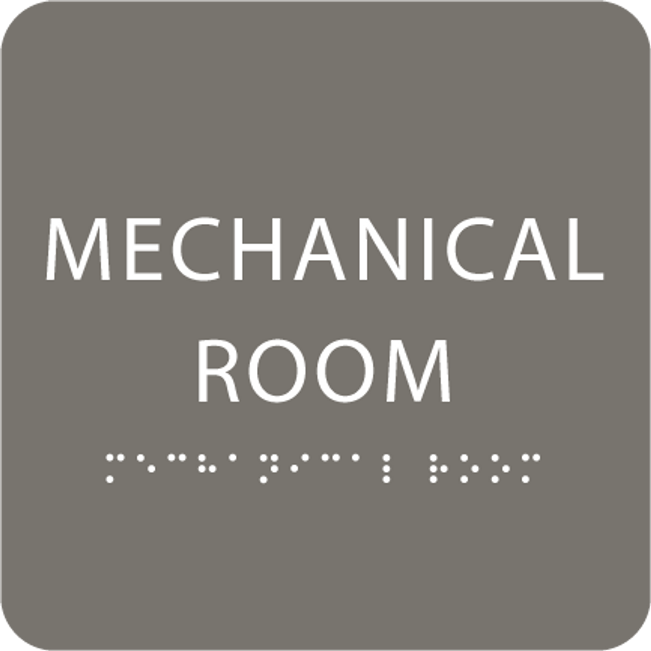 Dark Grey Tactile Mechanical Room Sign