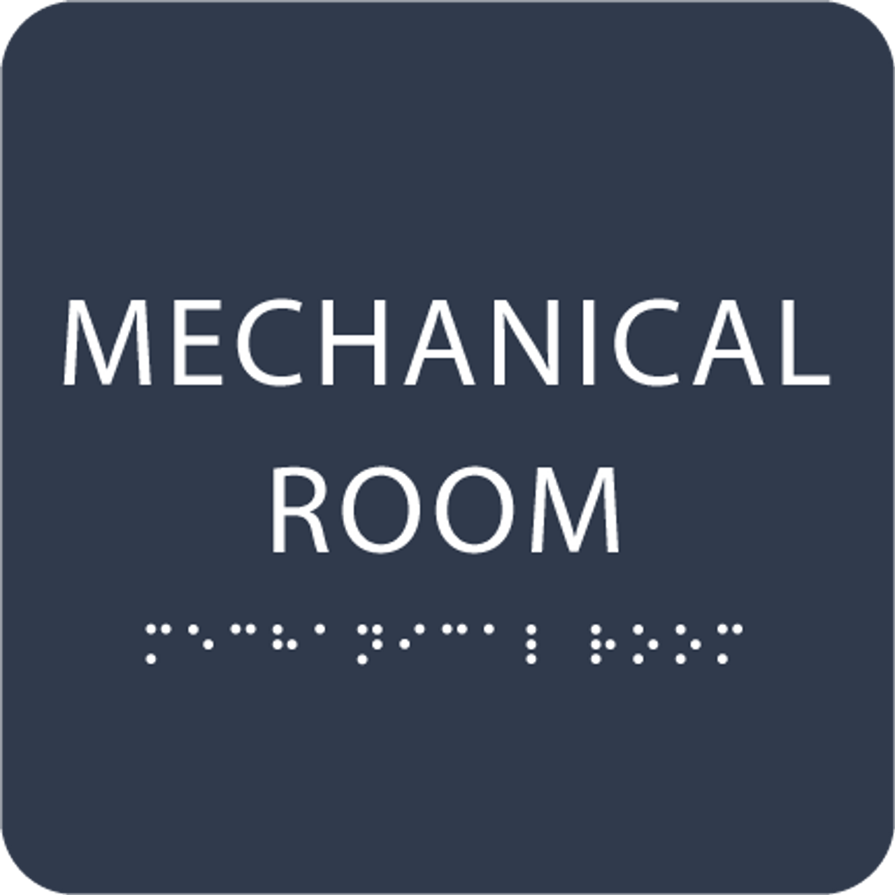 Navy Tactile Mechanical Room Sign