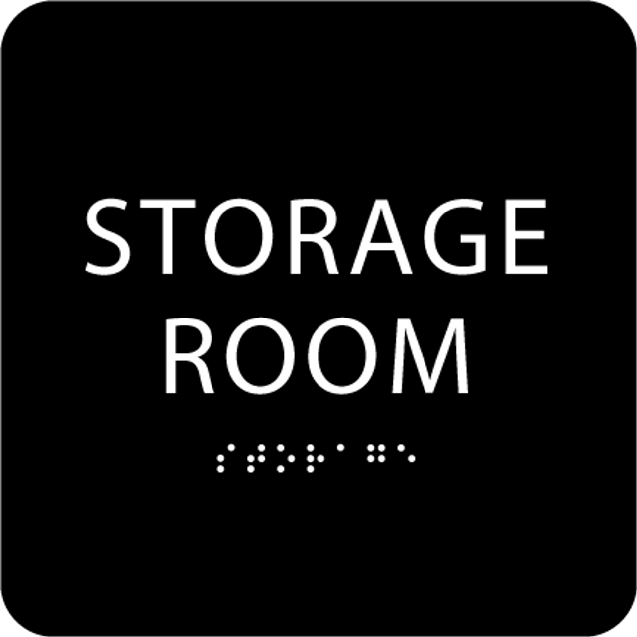 Black Tactile Storage Room Sign