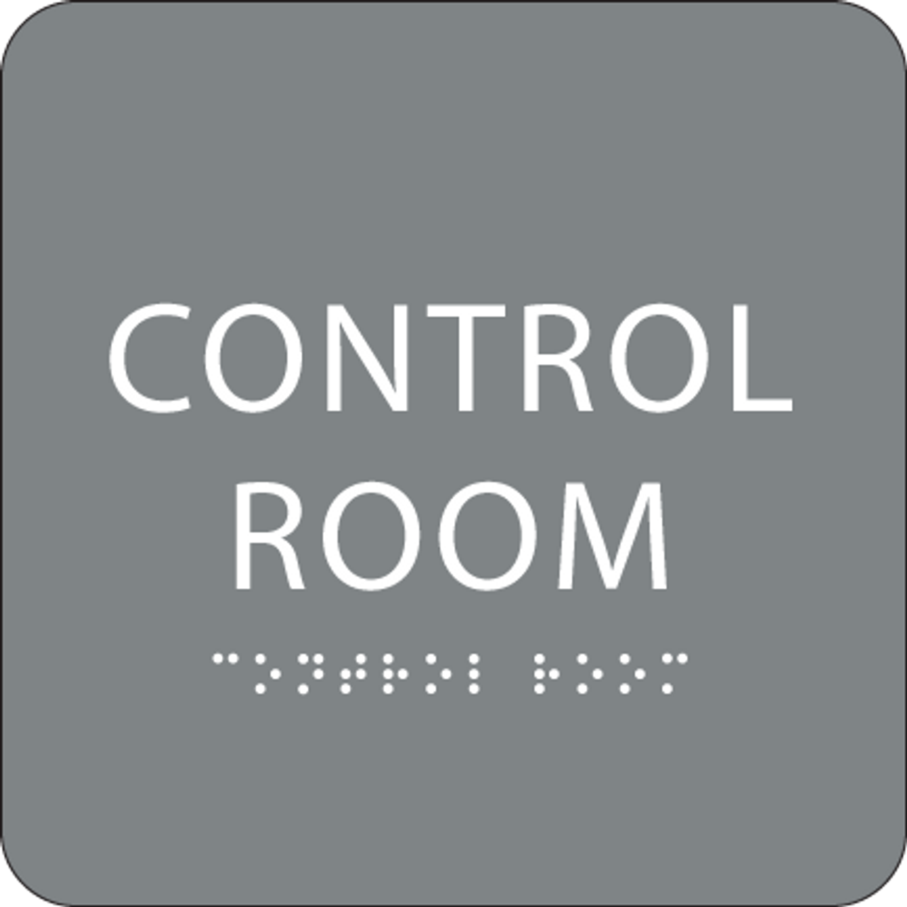 Grey Control Room Braille Sign