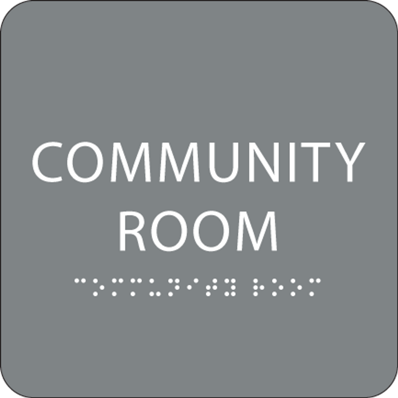 Grey Community Room ADA Sign