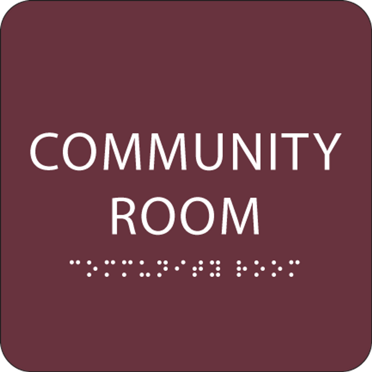 Burgundy Community Room ADA Sign