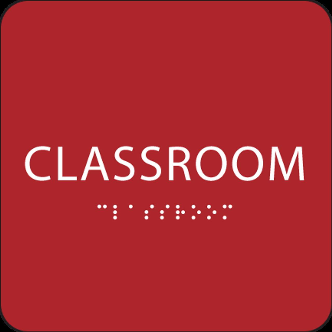 Red Classroom ADA Sign