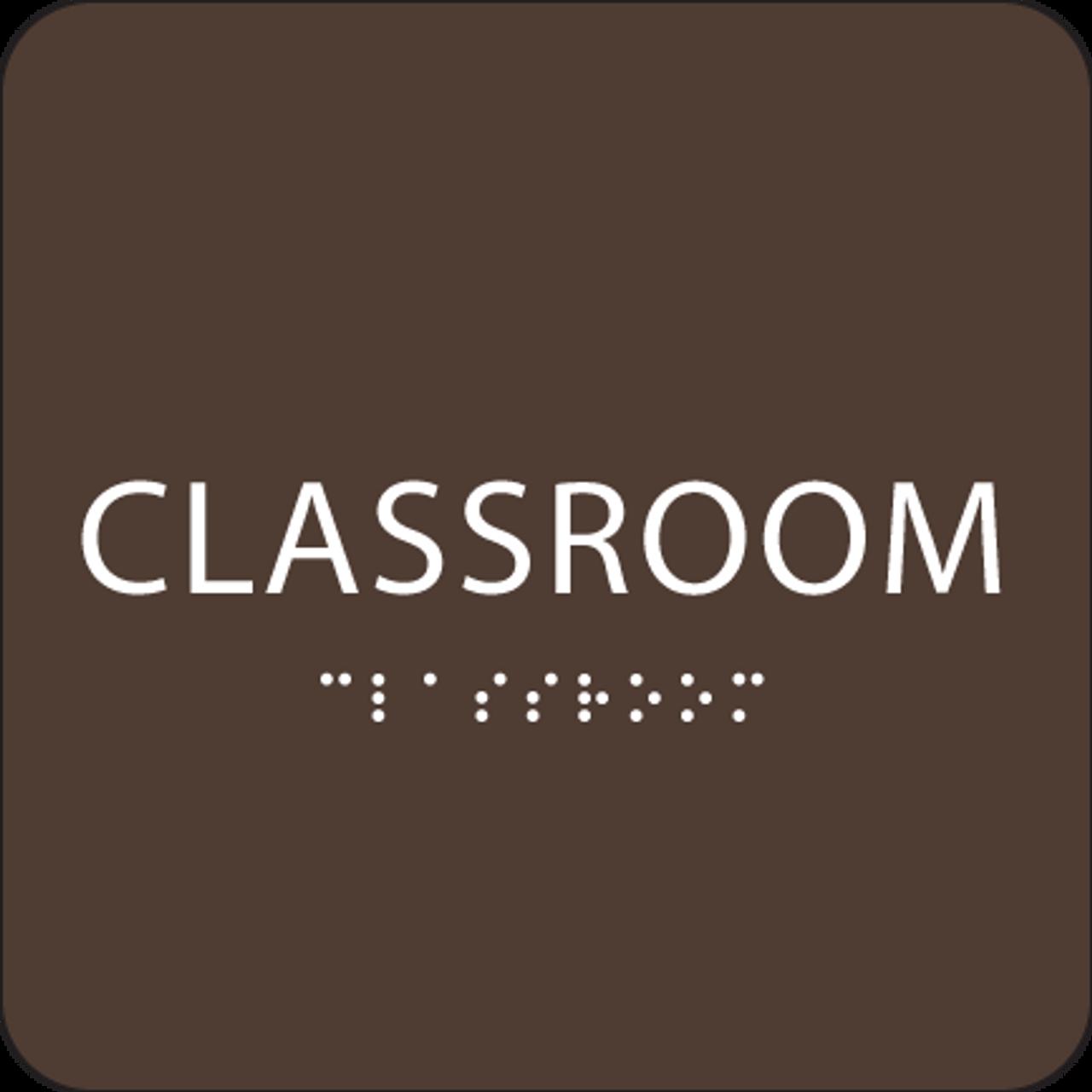 Dark Brown Classroom Braille Sign