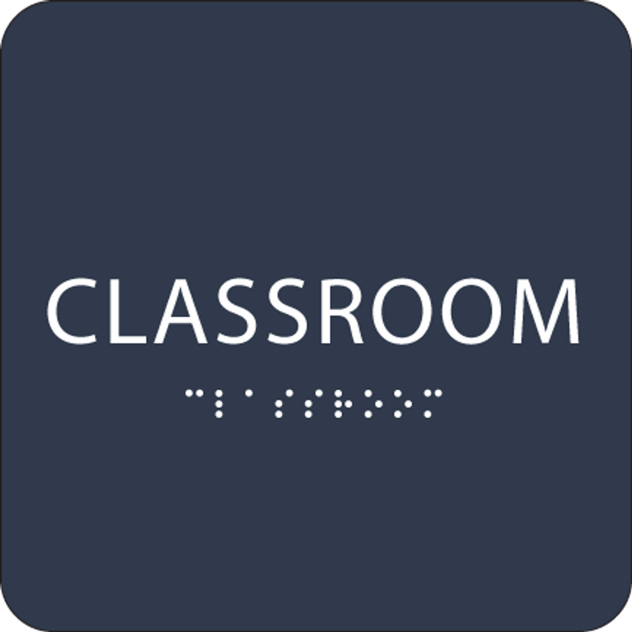 Navy Classroom Tactile Sign