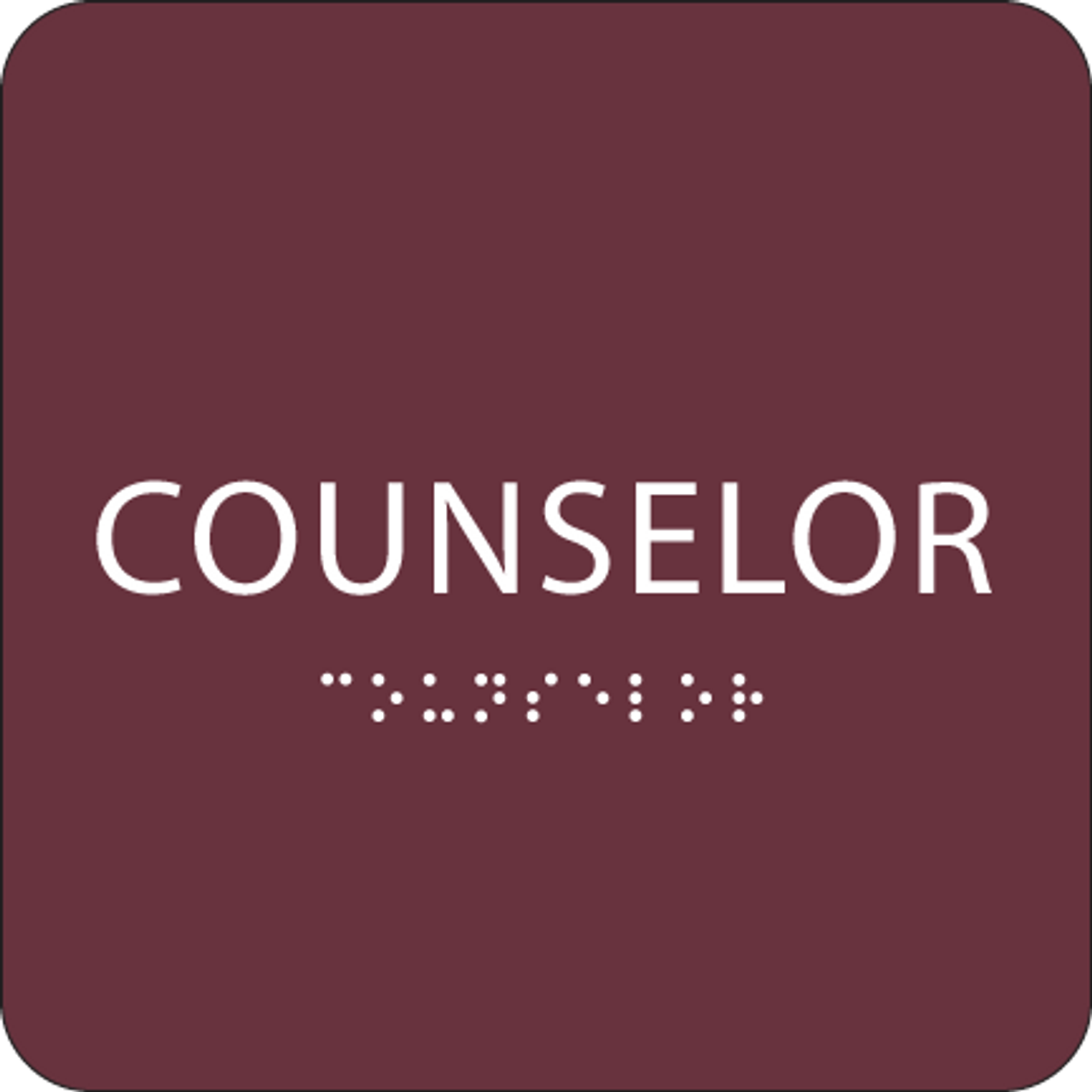 Burgundy Counselor ADA Sign