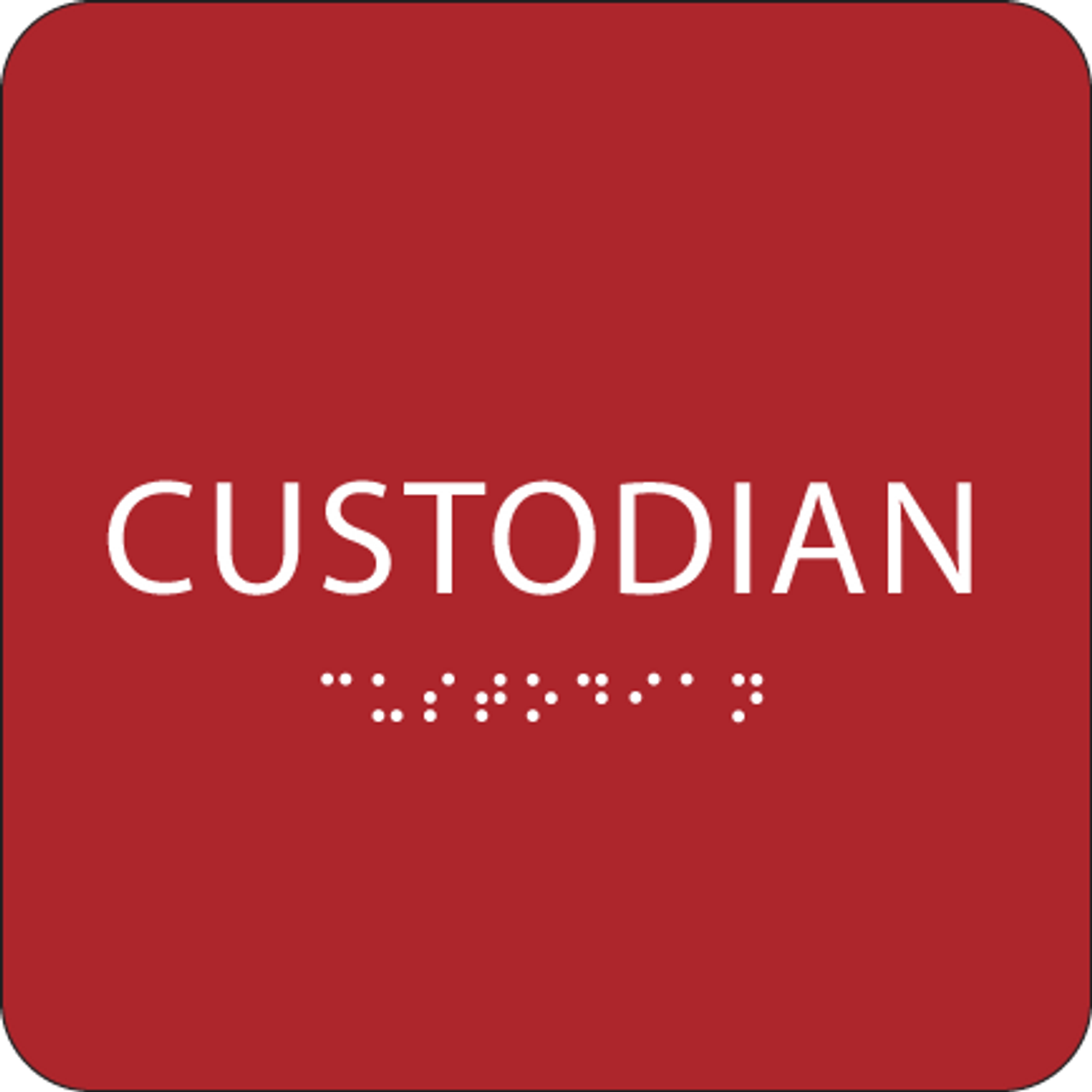 Red Custodian ADA Sign