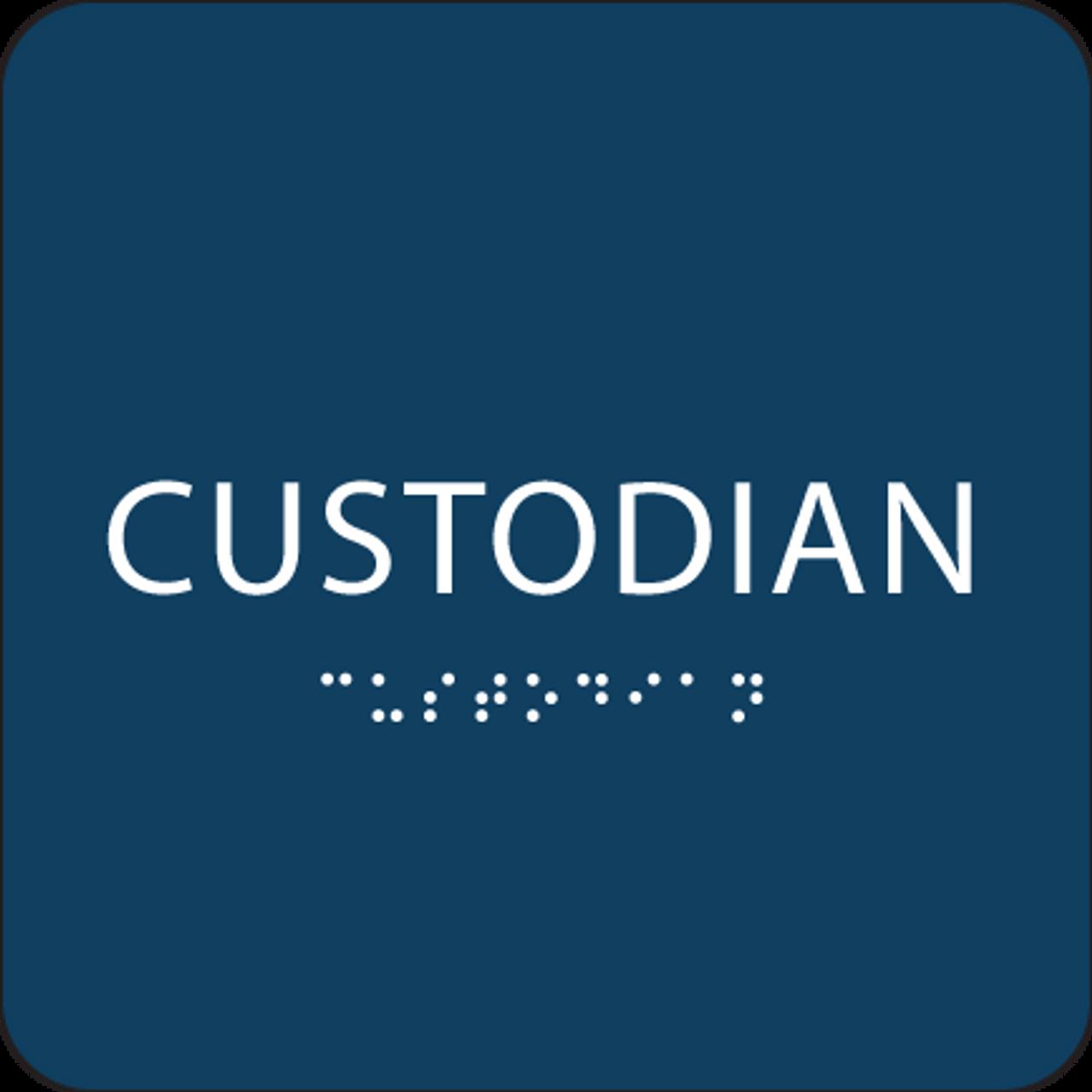 Dark Blue Custodian Braille Sign