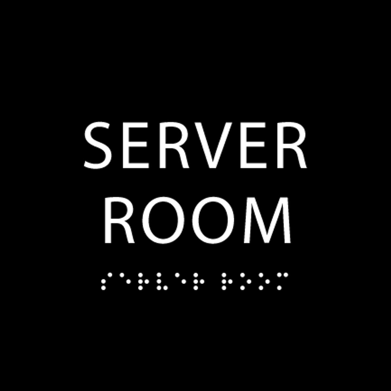 Black Server Room ADA Sign
