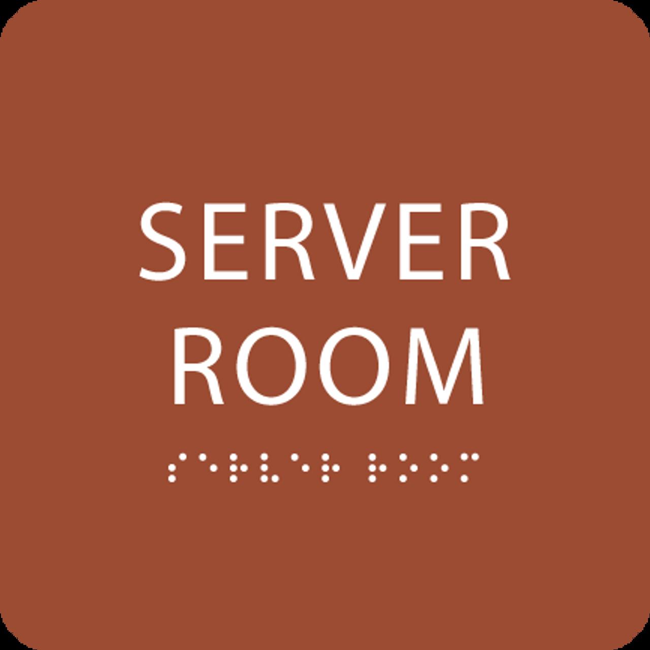 Orange  Server Room ADA Sign