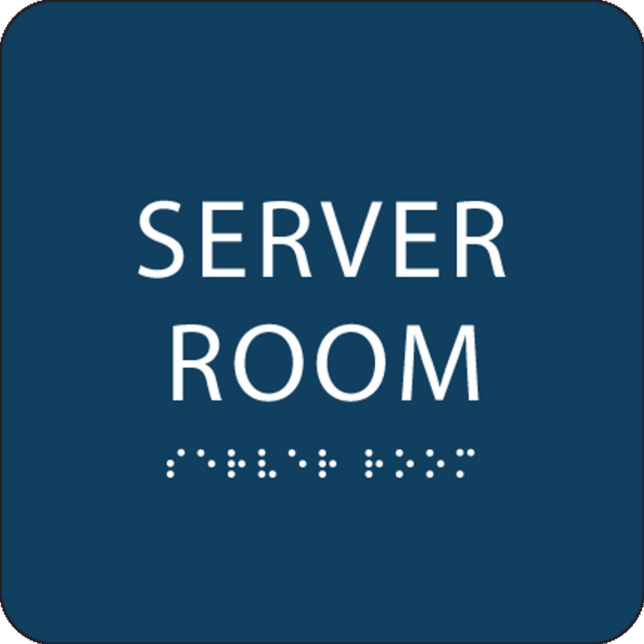 Blue  Server Room Braille Sign