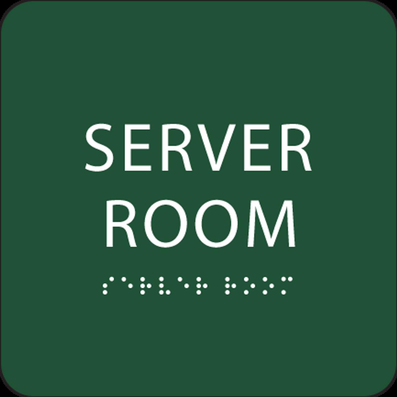 Green Server Room Braille Sign