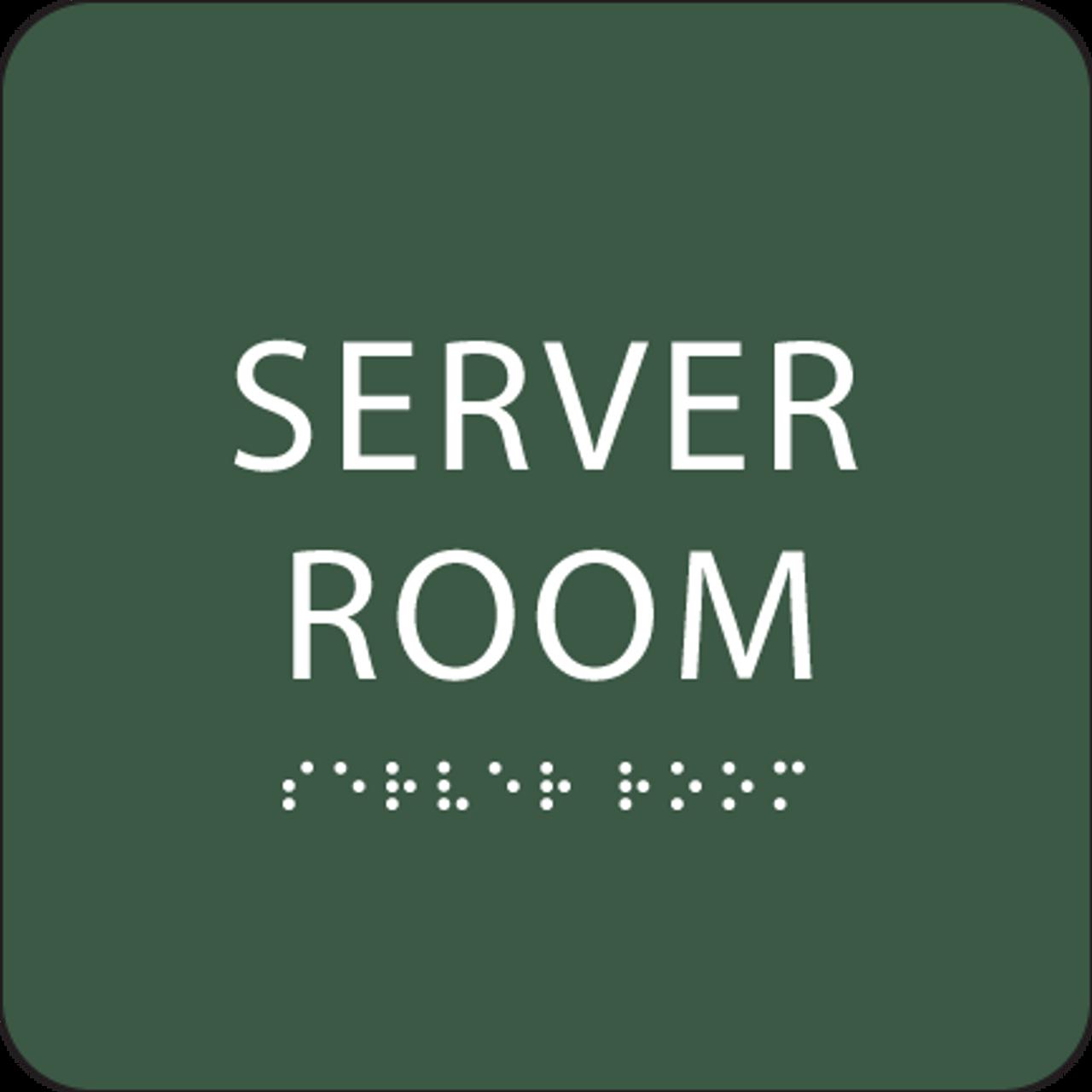 Green Server Room Tactile Sign