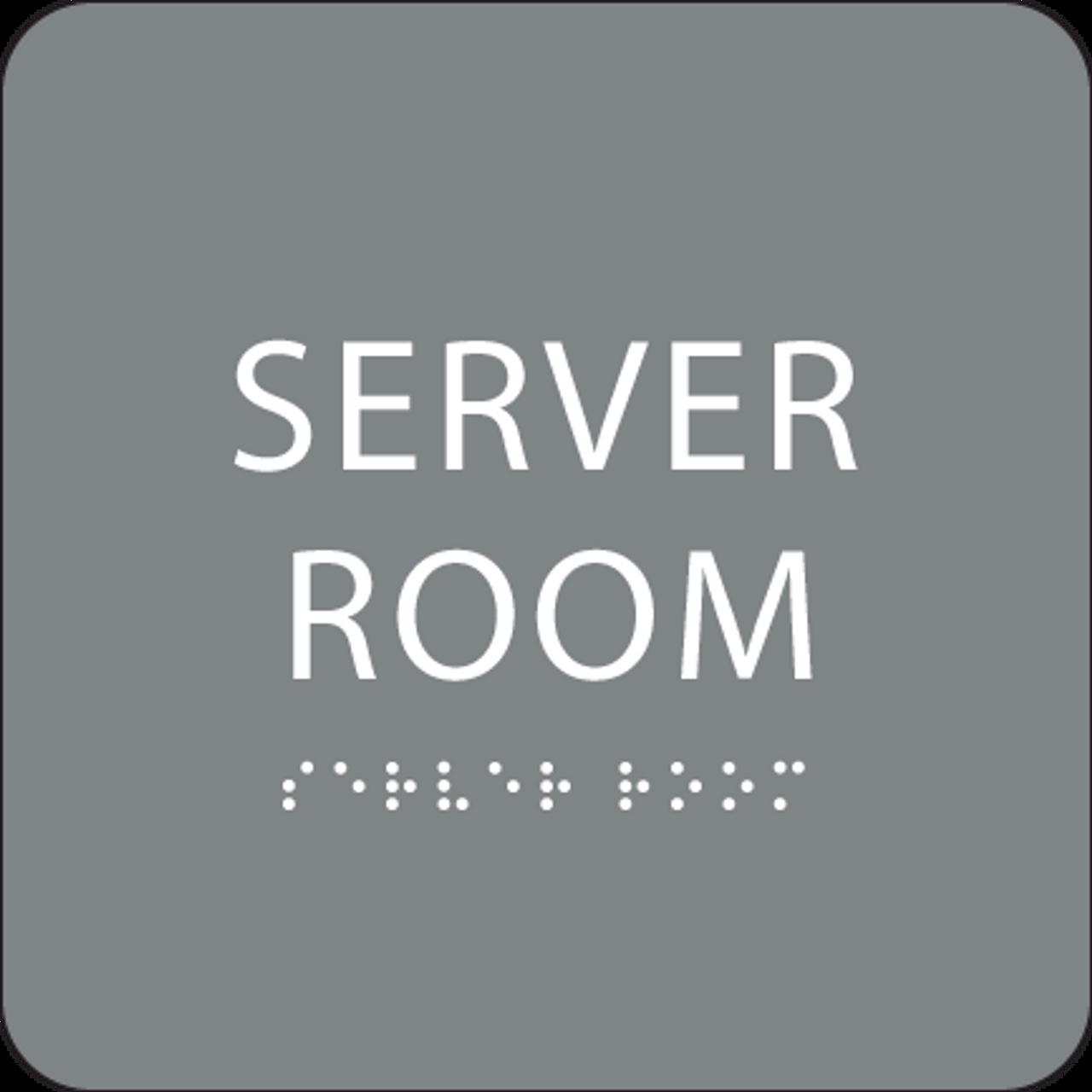 Grey  Server Room Braille Sign