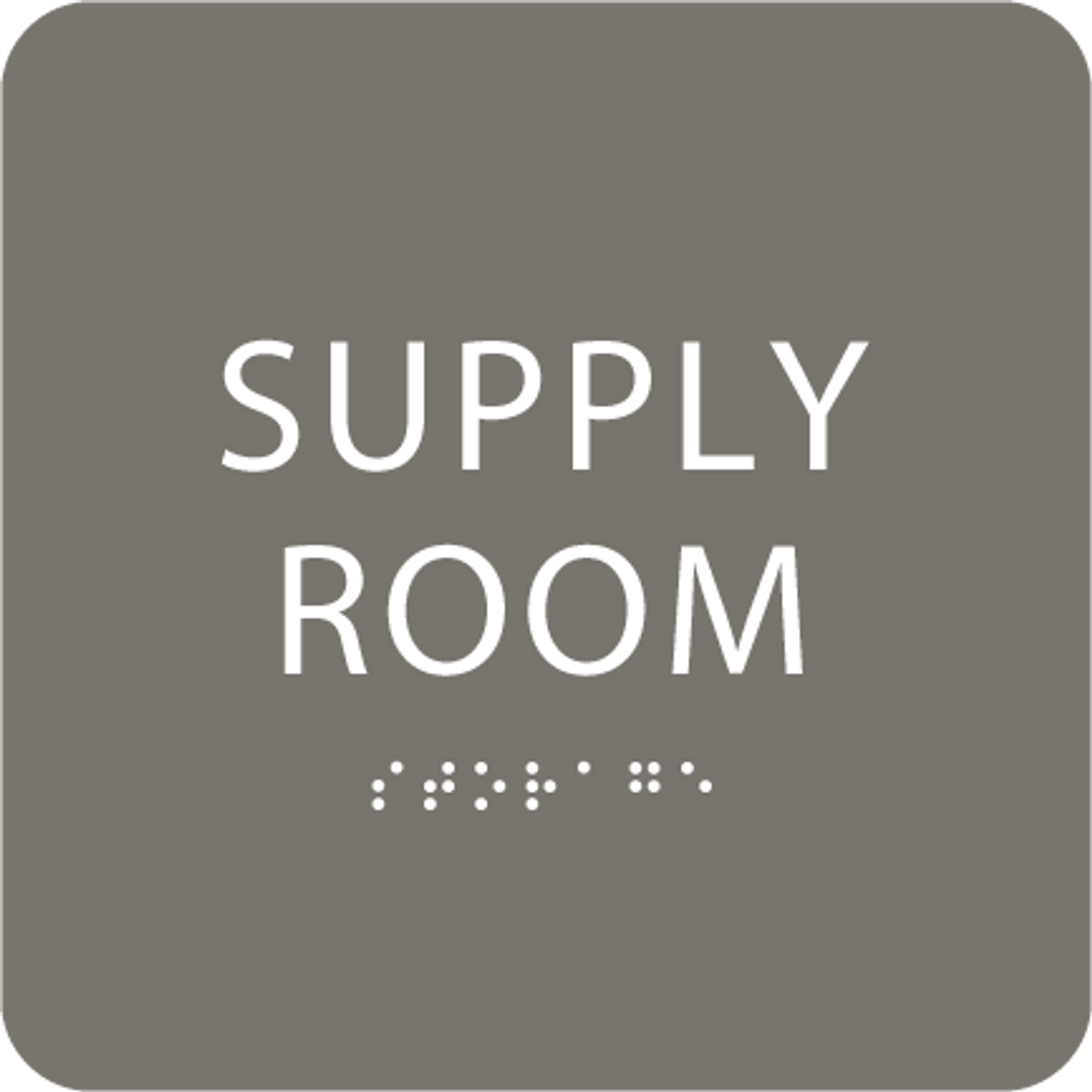 Dark Grey Supply Room ADA Sign