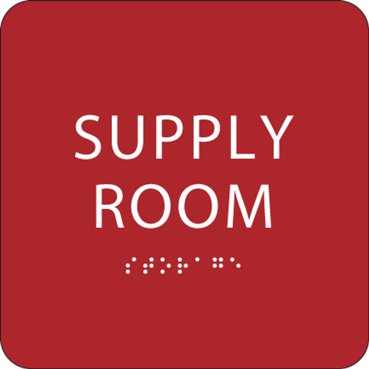 Red Supply Room Braille Sign