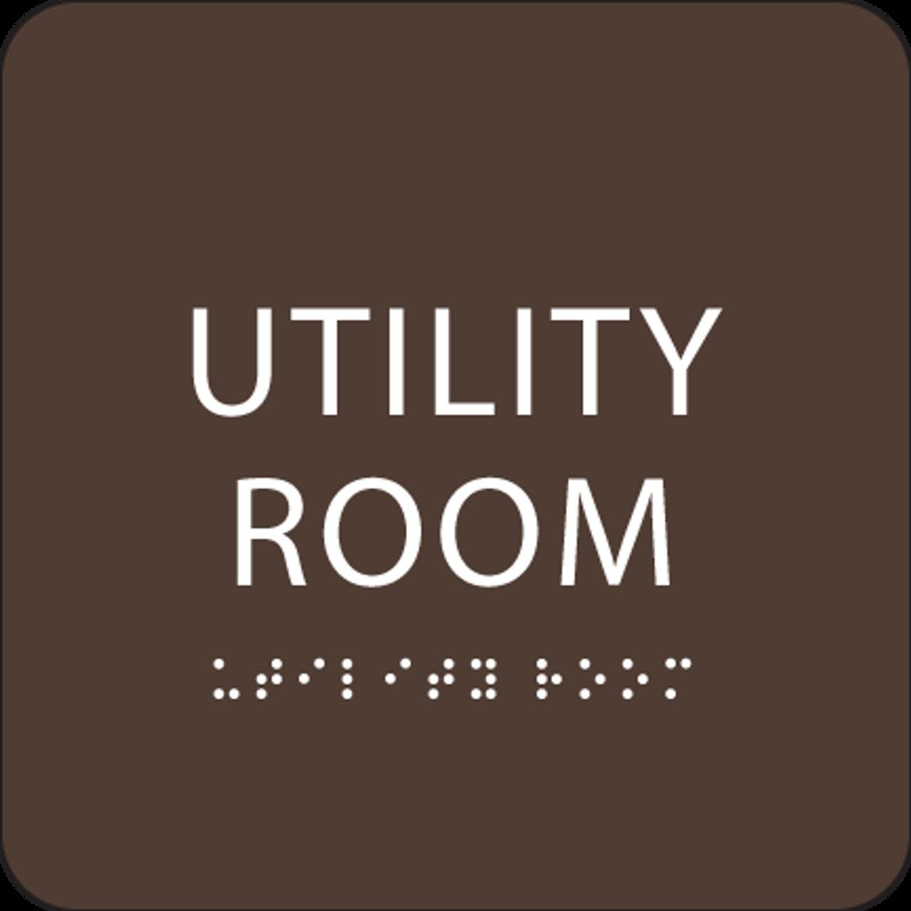 Dark Brown Utility Room ADA Sign