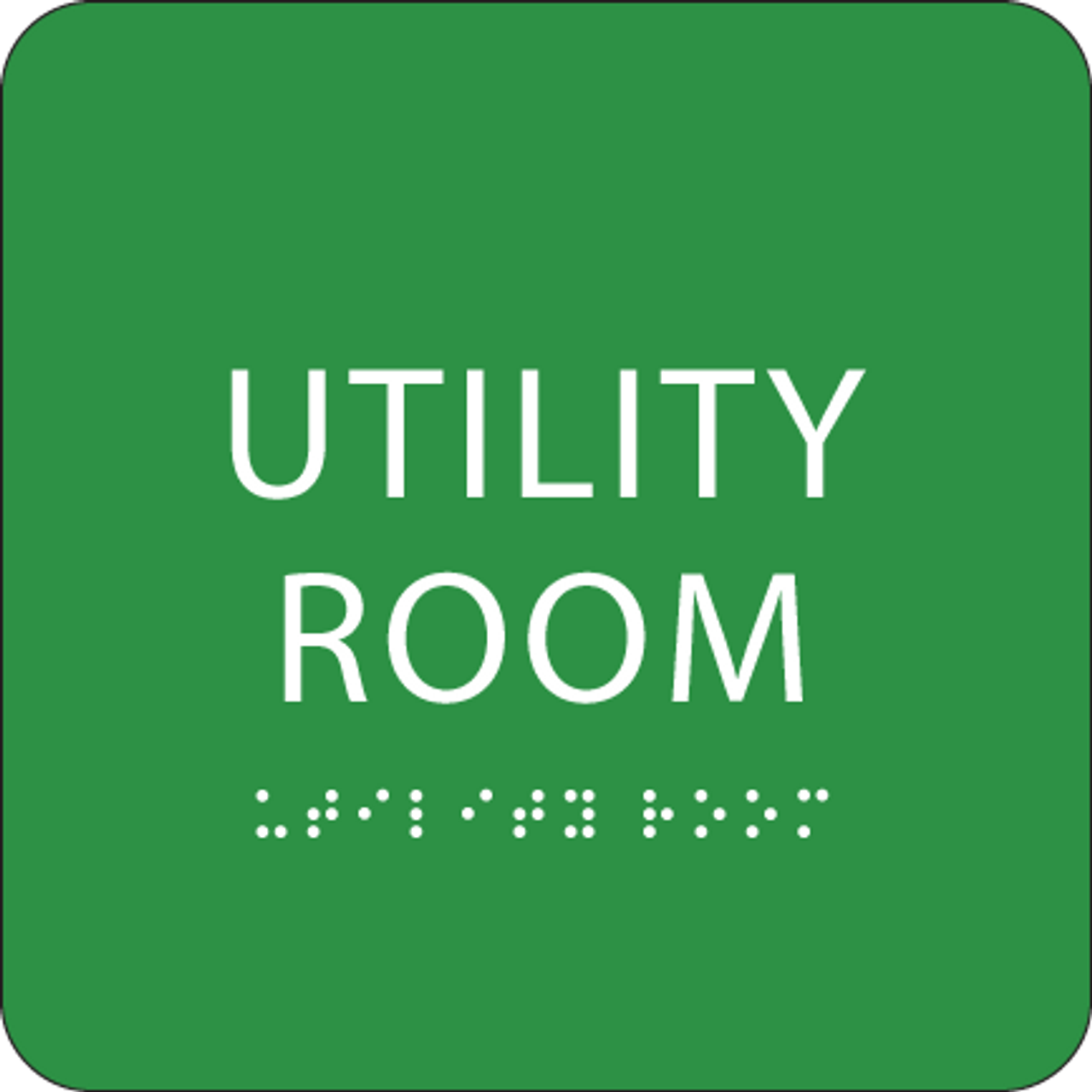 Green Utility Room Tactile Sign