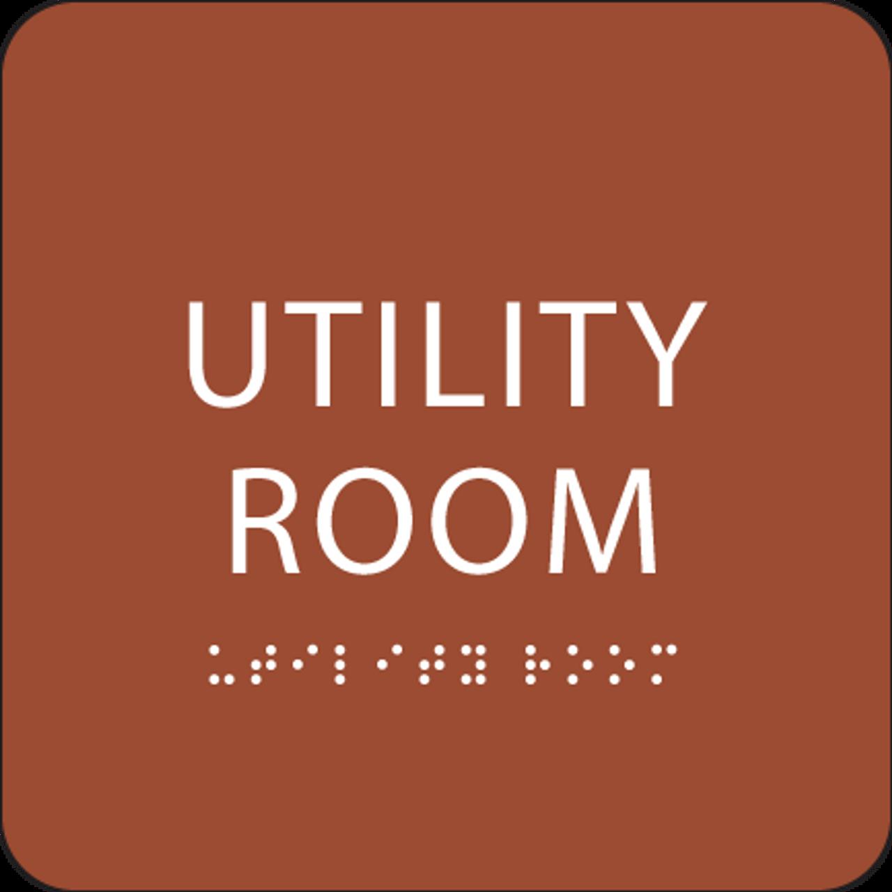 Orange Utility Room ADA Sign