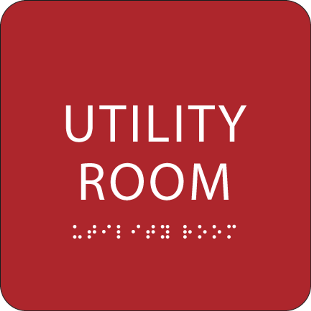 Red Utility Room ADA Sign