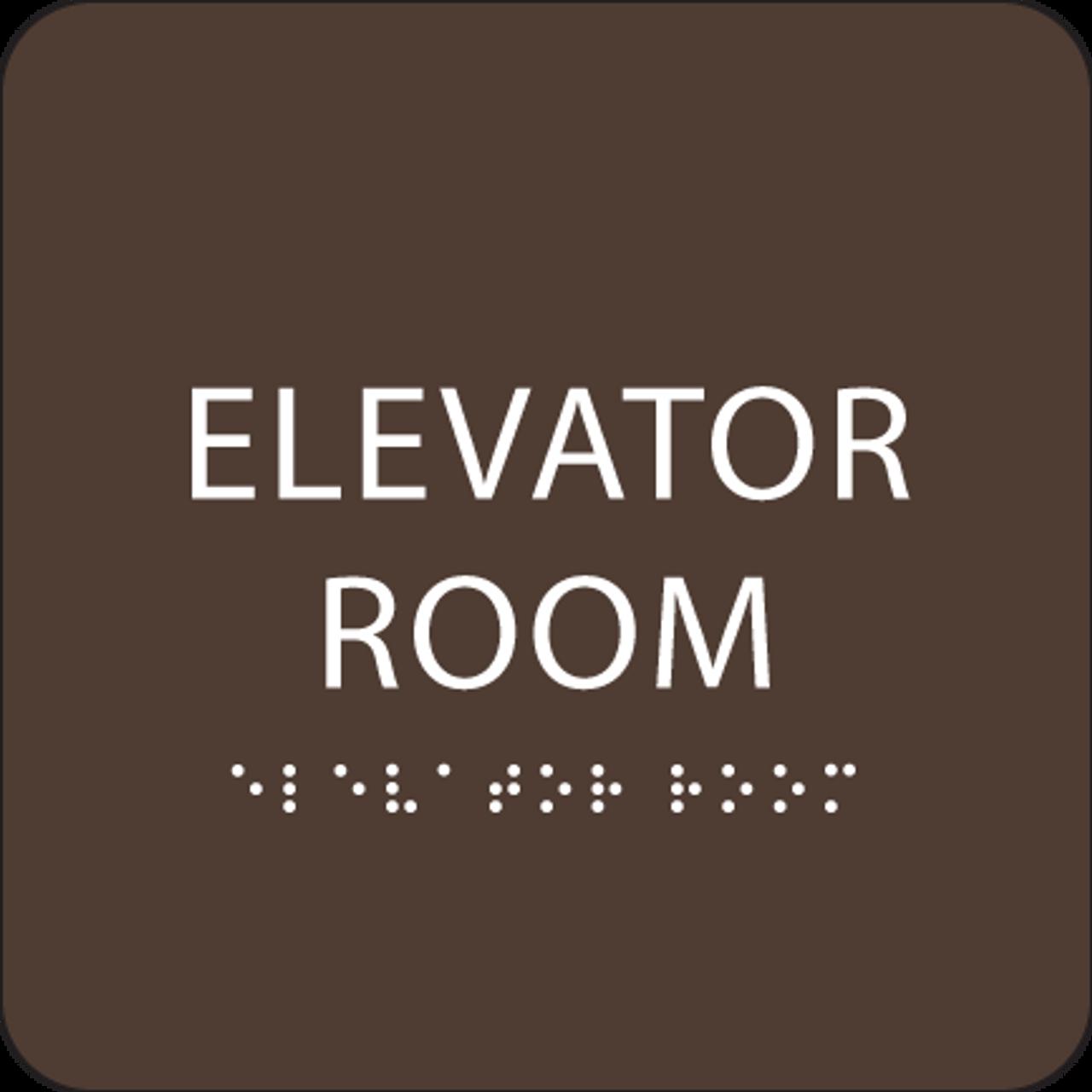 Dark Brown Elevator Room ADA Sign