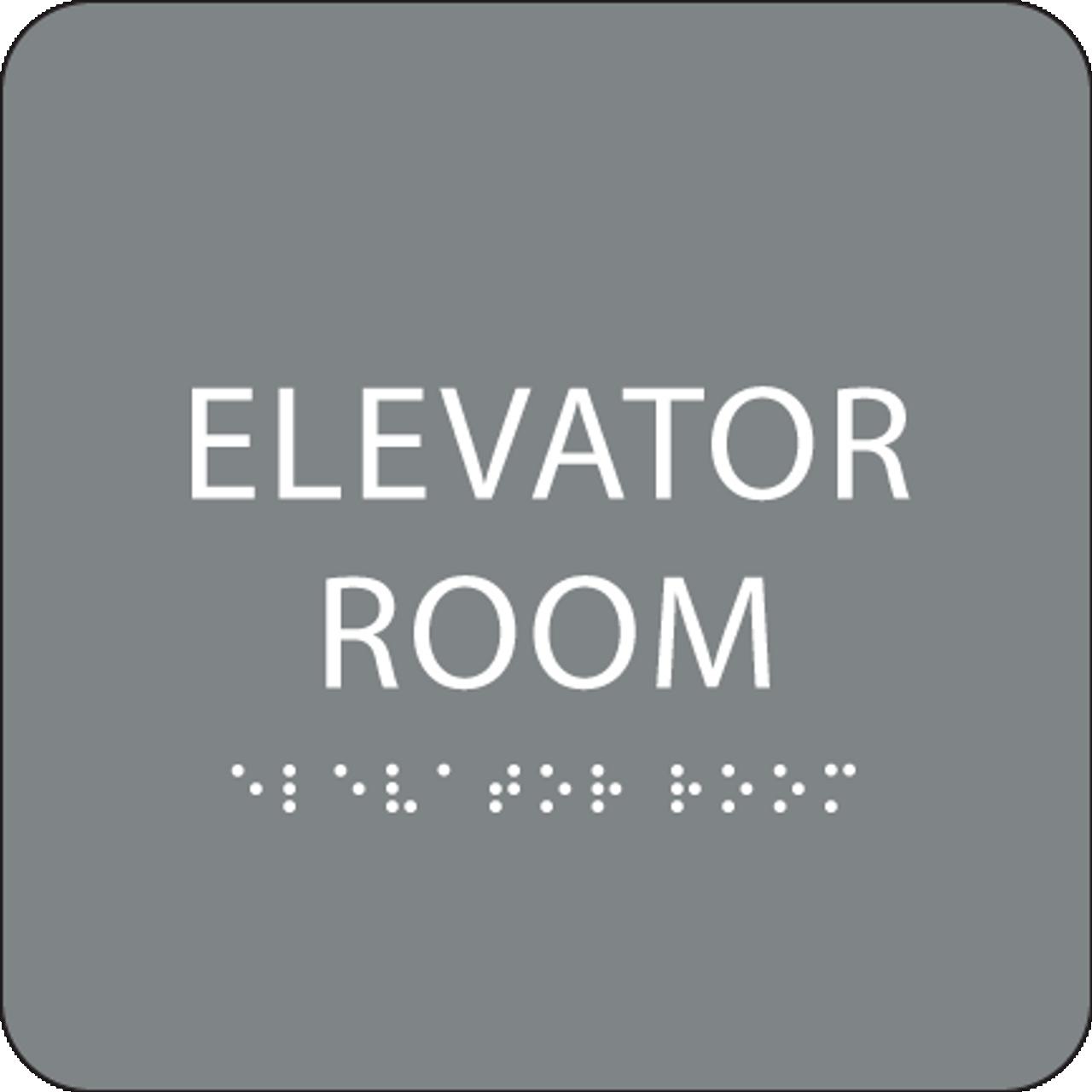 Grey Elevator Room ADA Sign