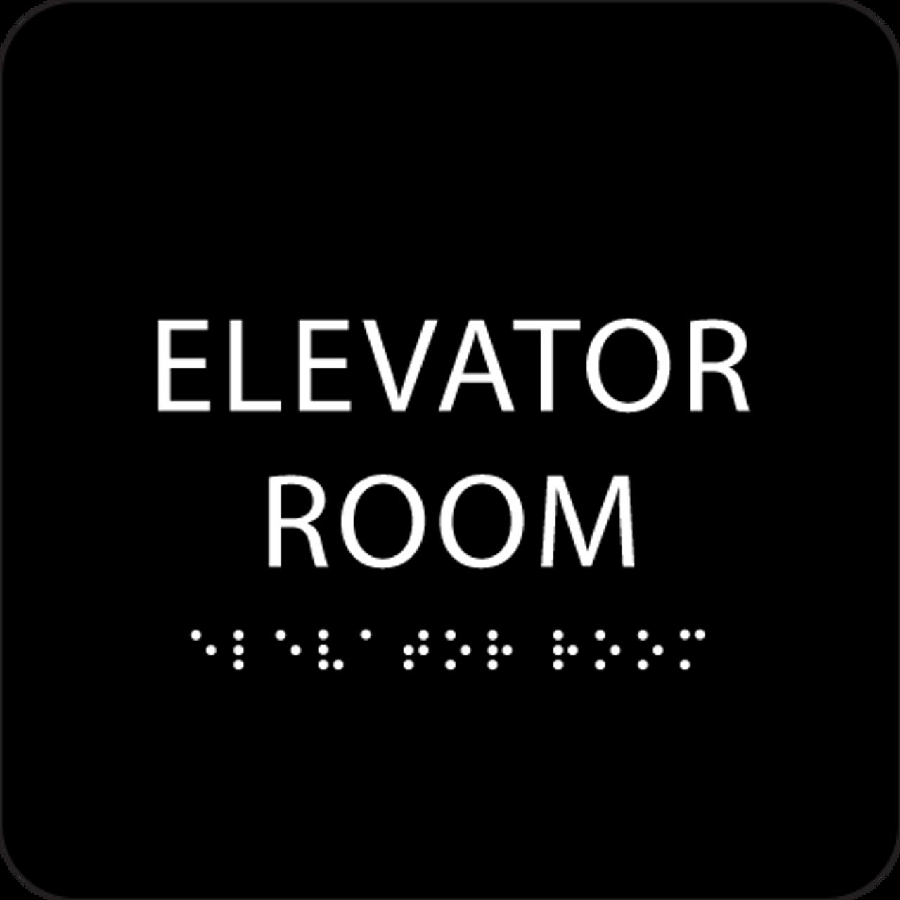 Black Elevator Room ADA Sign