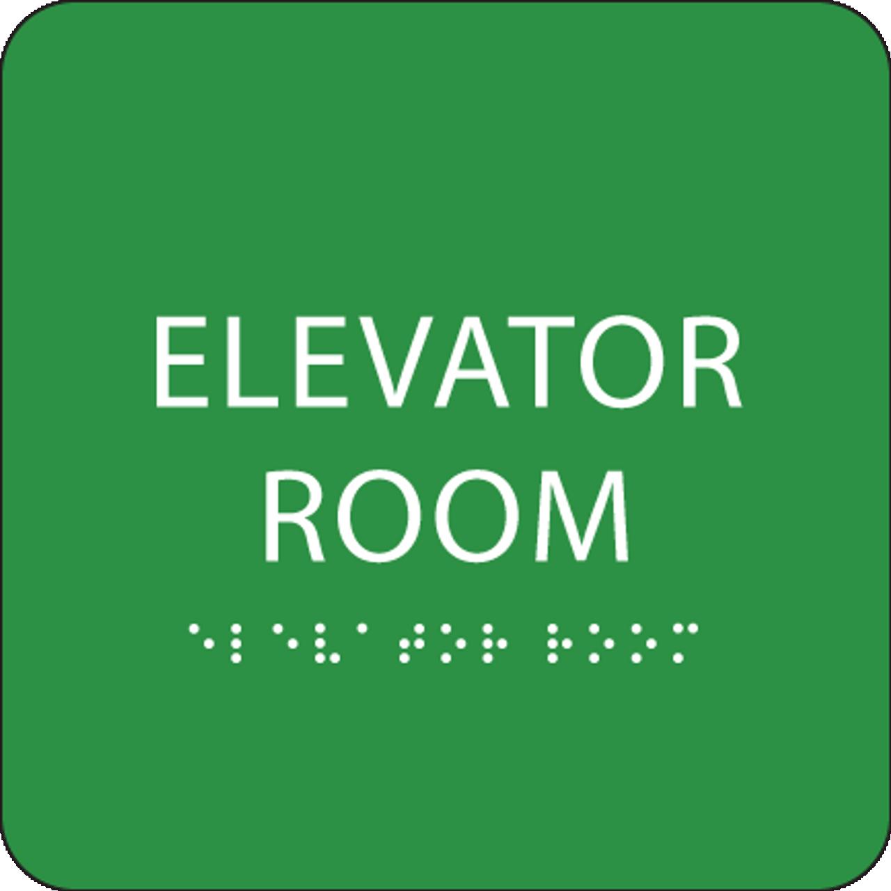 Green Elevator Room Braille Sign
