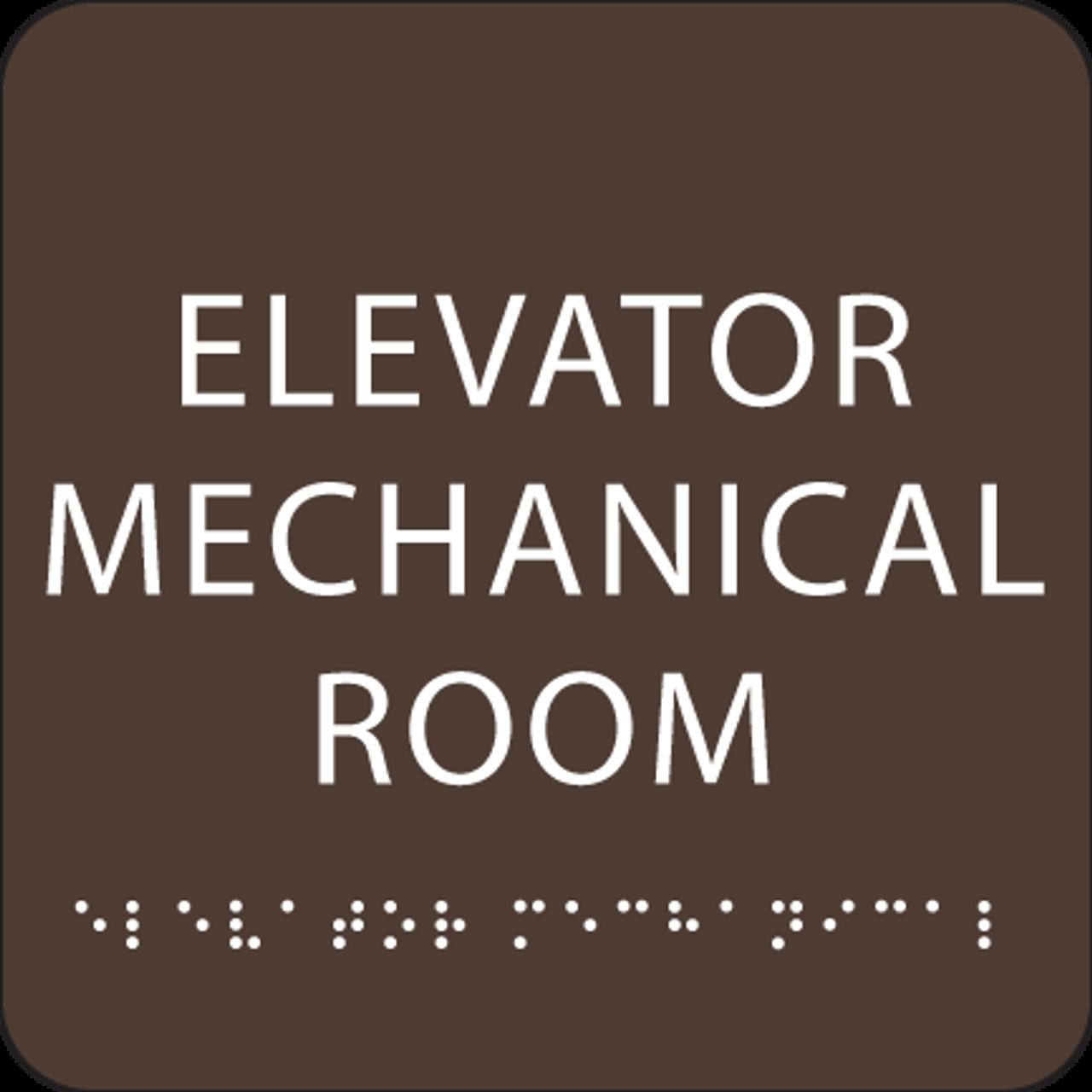 Dark Brown Elevator Mechanical Room ADA Sign