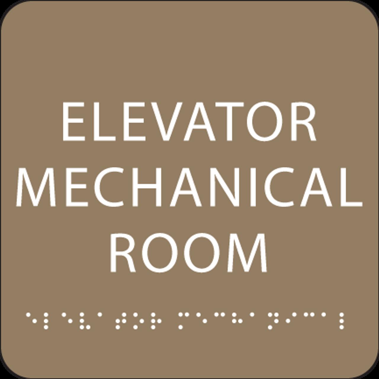 Light Brown Elevator Mechanical Room Braille Sign