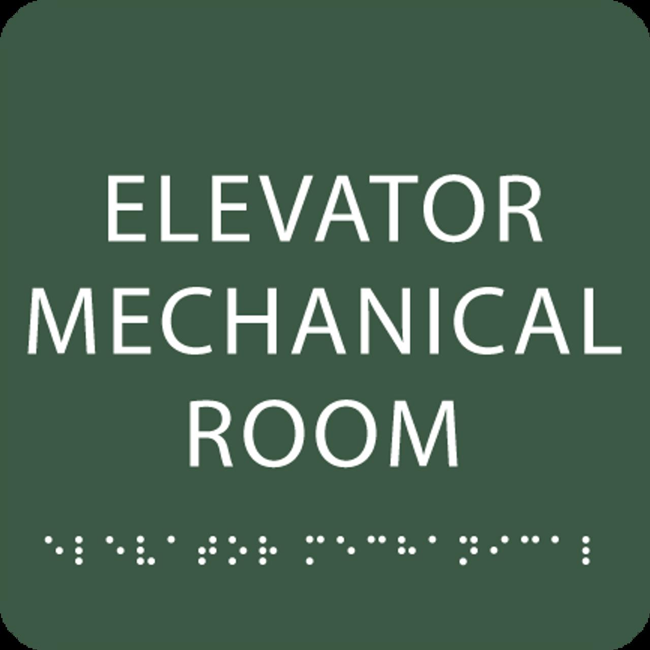 Green Elevator Mechanical Room Tactile Sign