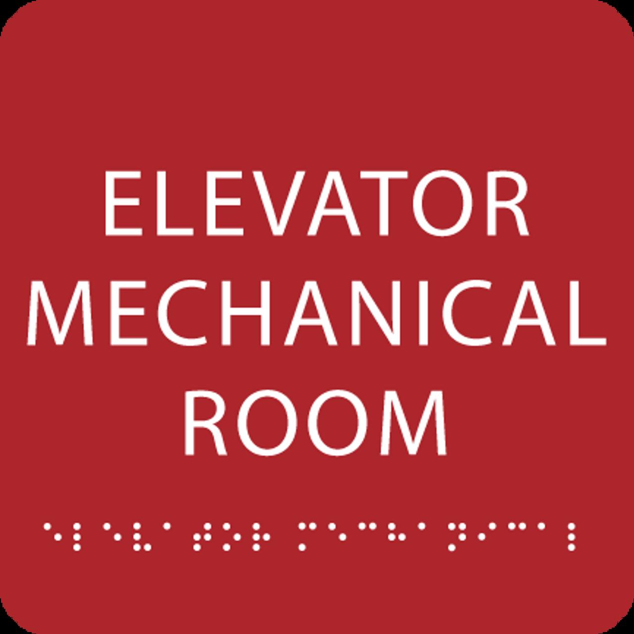 Red Elevator Mechanical Room ADA Sign