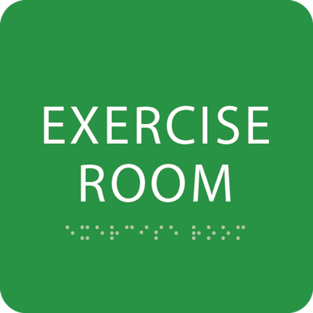 Green Exercise Room Tactile Sign